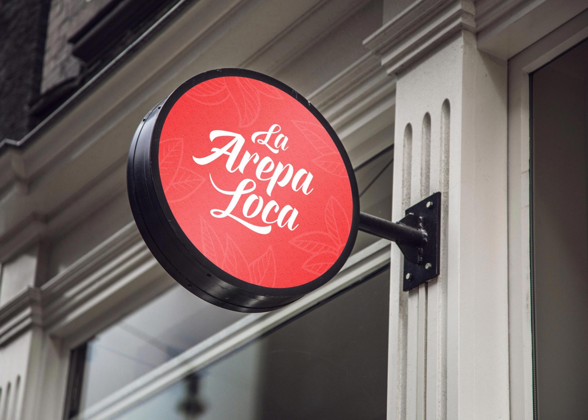 La Arepa Loca outside sign design