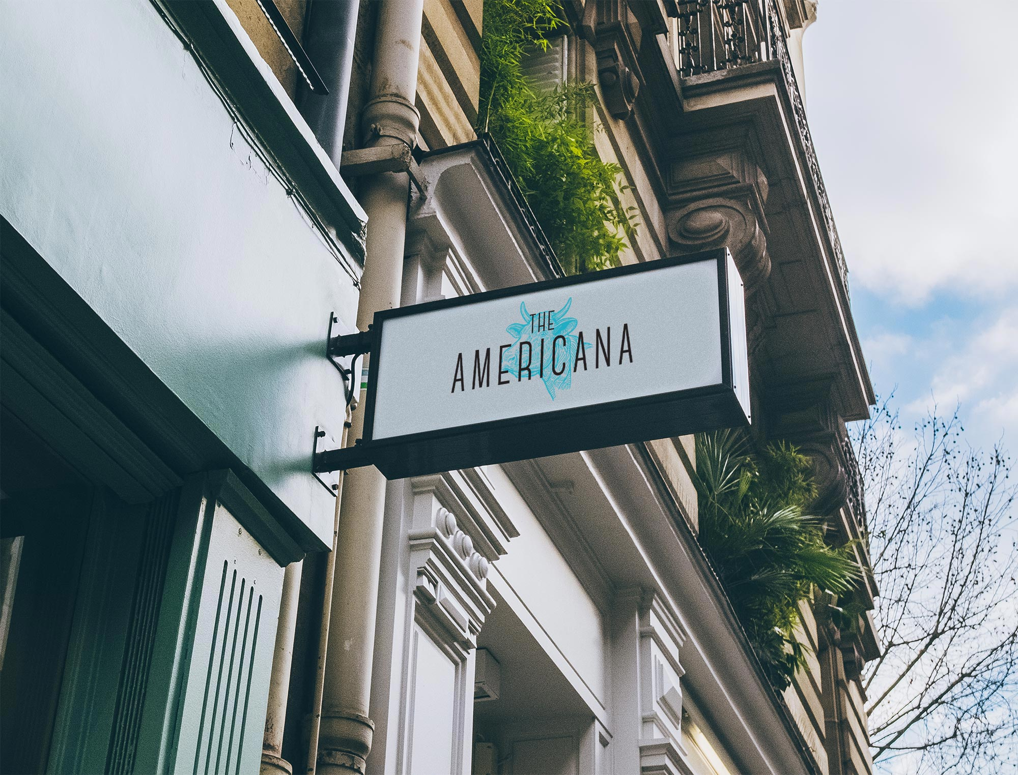 The Americana outside sign design